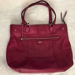 Coach pink leather pocketbook/tote great condition